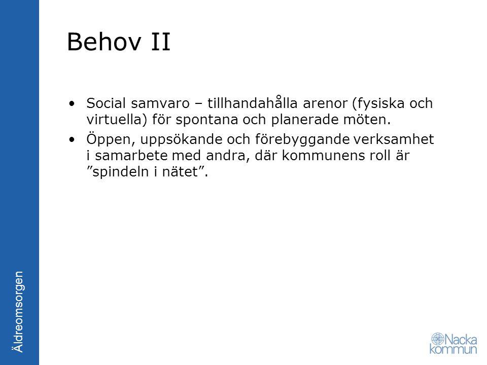 Äldreomsorgen Behov II Social samvaro – tillhandahålla arenor (fysiska och virtuella) för spontana och planerade möten. Öppen, uppsökande och förebygg