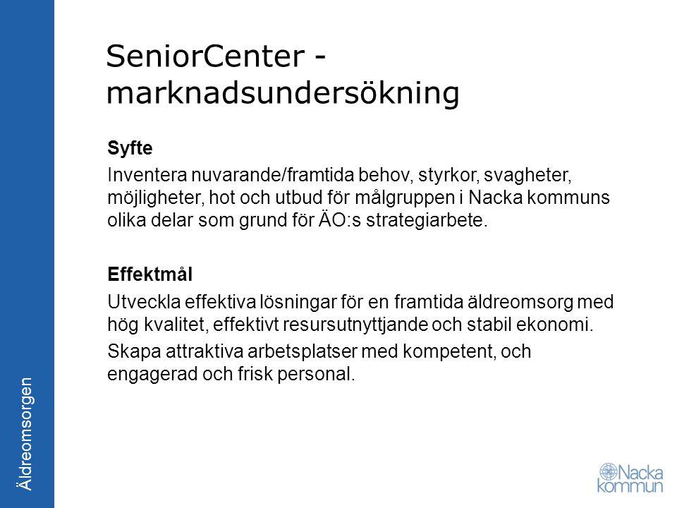 Äldreomsorgen SeniorCenter - marknadsundersökning Syfte Inventera nuvarande/framtida behov, styrkor, svagheter, möjligheter, hot och utbud för målgrup