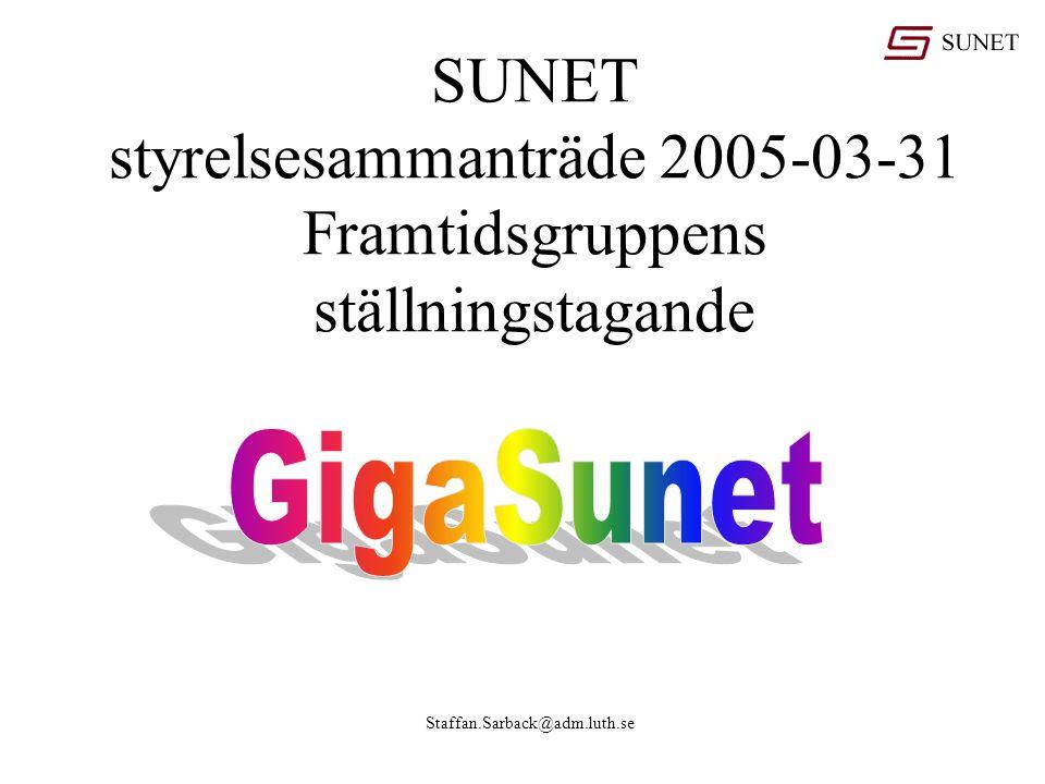 Staffan.Sarback@adm.luth.se SUNET styrelsesammanträde 2005-03-31 Framtidsgruppens ställningstagande