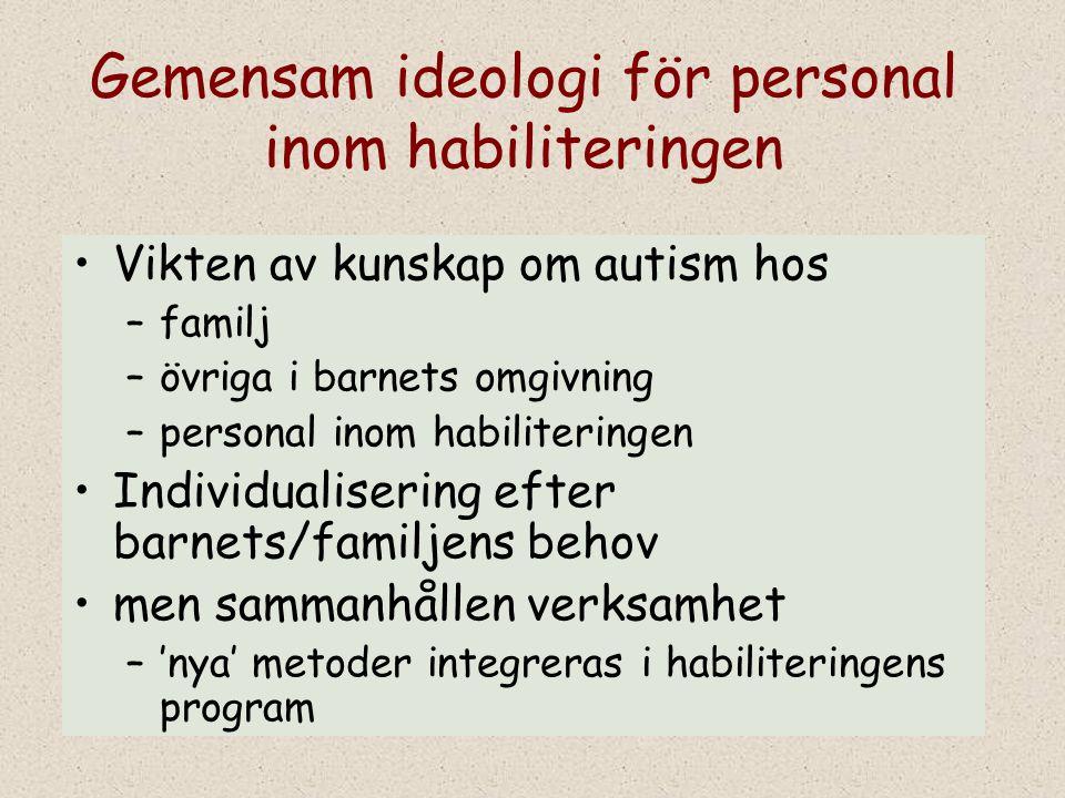 Gemensam ideologi för personal inom habiliteringen Vikten av kunskap om autism hos –familj –övriga i barnets omgivning –personal inom habiliteringen I