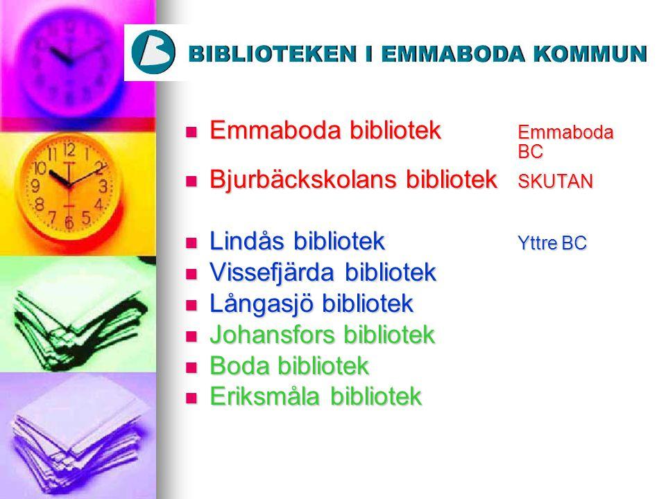 Emmaboda bibliotek Emmaboda BC Emmaboda bibliotek Emmaboda BC Bjurbäckskolans bibliotek SKUTAN Bjurbäckskolans bibliotek SKUTAN Lindås bibliotek Yttre
