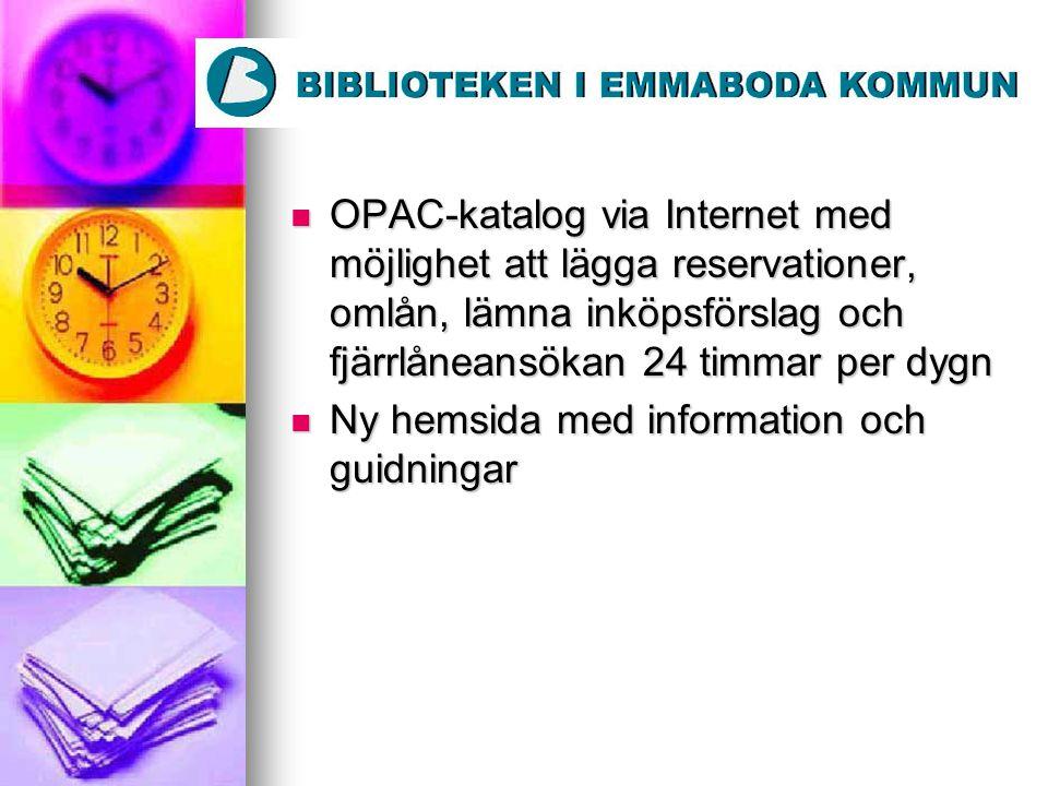 OPAC-katalog via Internet med möjlighet att lägga reservationer, omlån, lämna inköpsförslag och fjärrlåneansökan 24 timmar per dygn OPAC-katalog via I
