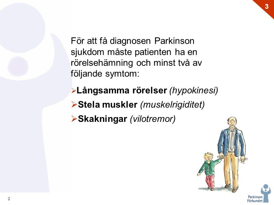 2 3 För att få diagnosen Parkinson sjukdom måste patienten ha en rörelsehämning och minst två av följande symtom:  Långsamma rörelser (hypokinesi) 