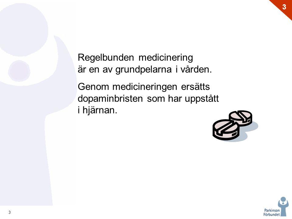 14 3 Behov - Patienten Alla med Parkinsons sjukdom ska ha rätt till  Snabb diagnos gjord av p-specialist  Tillgång till moderna behandlings- metoder oavsett var i landet man än bor  Parkinsonteam
