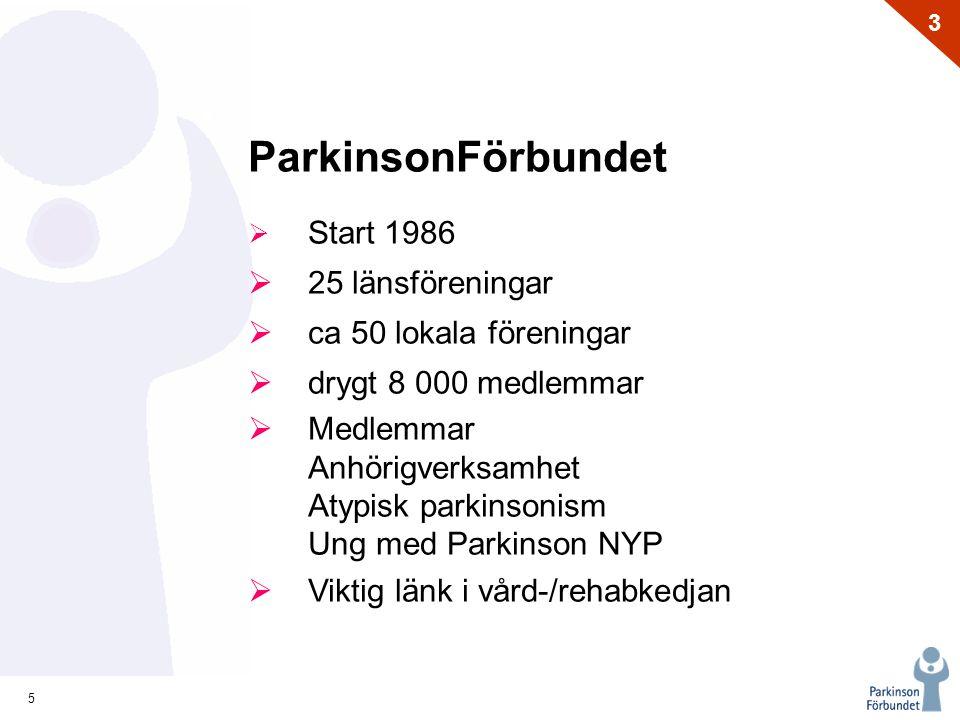 5 3 ParkinsonFörbundet  Start 1986  25 länsföreningar  ca 50 lokala föreningar  drygt 8 000 medlemmar  Medlemmar Anhörigverksamhet Atypisk parkin