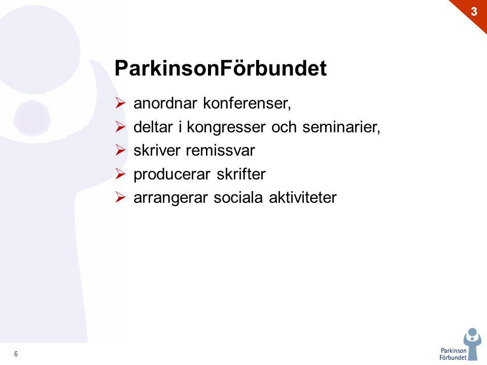 6 3 ParkinsonFörbundet  anordnar konferenser,  deltar i kongresser och seminarier,  skriver remissvar  producerar skrifter  arrangerar sociala ak