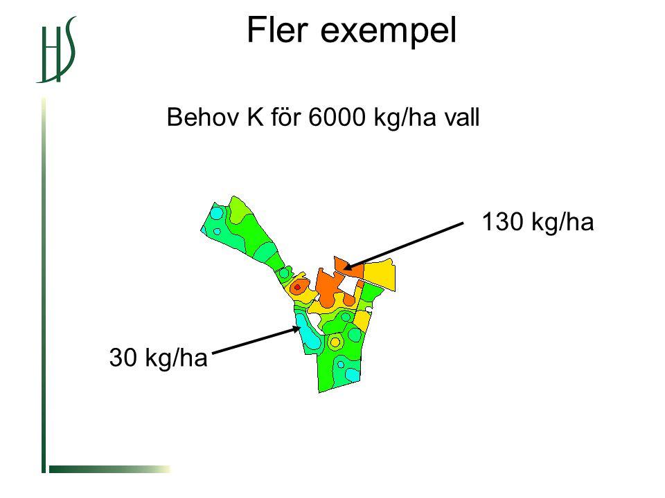 Fler exempel Behov K för 6000 kg/ha vall 130 kg/ha 30 kg/ha
