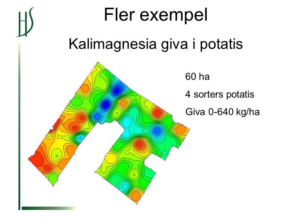 Fler exempel Kalimagnesia giva i potatis 60 ha 4 sorters potatis Giva 0-640 kg/ha
