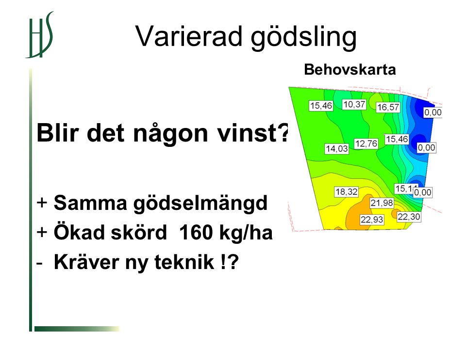 Blir det någon vinst. +Samma gödselmängd +Ökad skörd 160 kg/ha -Kräver ny teknik !.