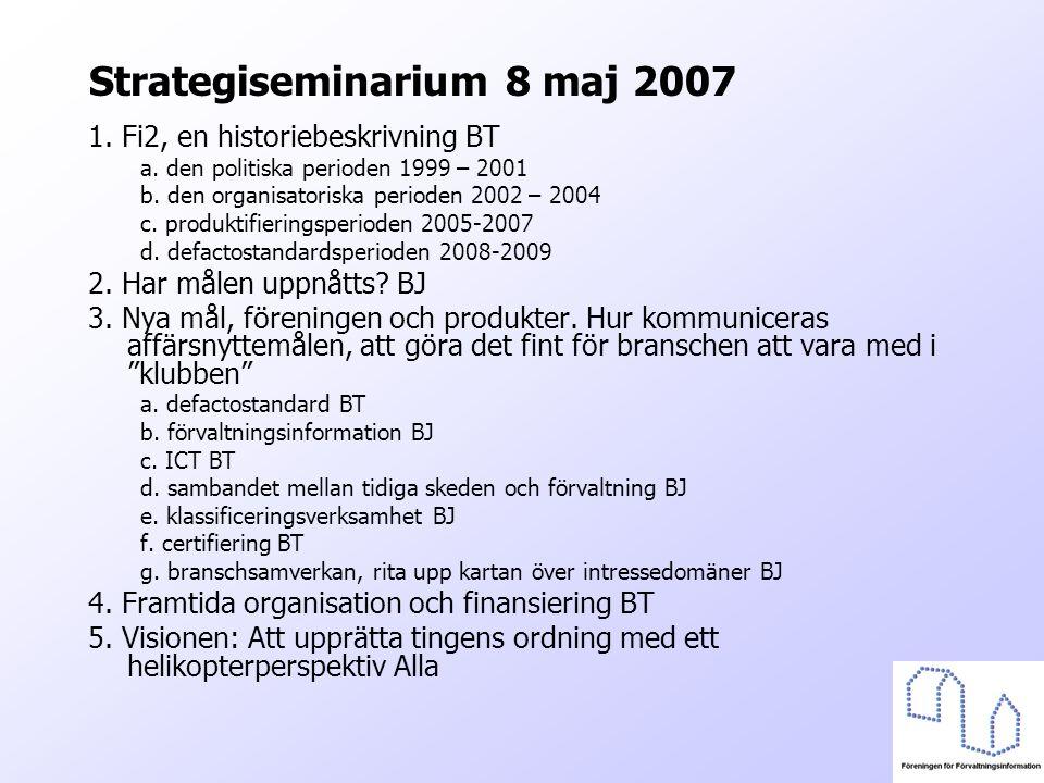 Strategiseminarium 8 maj 2007 1. Fi2, en historiebeskrivning BT a. den politiska perioden 1999 – 2001 b. den organisatoriska perioden 2002 – 2004 c. p
