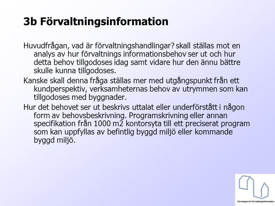3b Förvaltningsinformation Huvudfrågan, vad är förvaltningshandlingar? skall ställas mot en analys av hur förvaltnings informationsbehov ser ut och hu