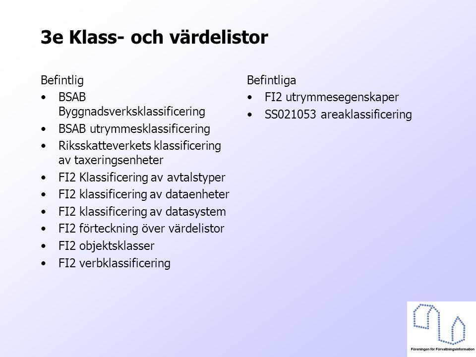 3e Klass- och värdelistor Befintlig BSAB Byggnadsverksklassificering BSAB utrymmesklassificering Riksskatteverkets klassificering av taxeringsenheter