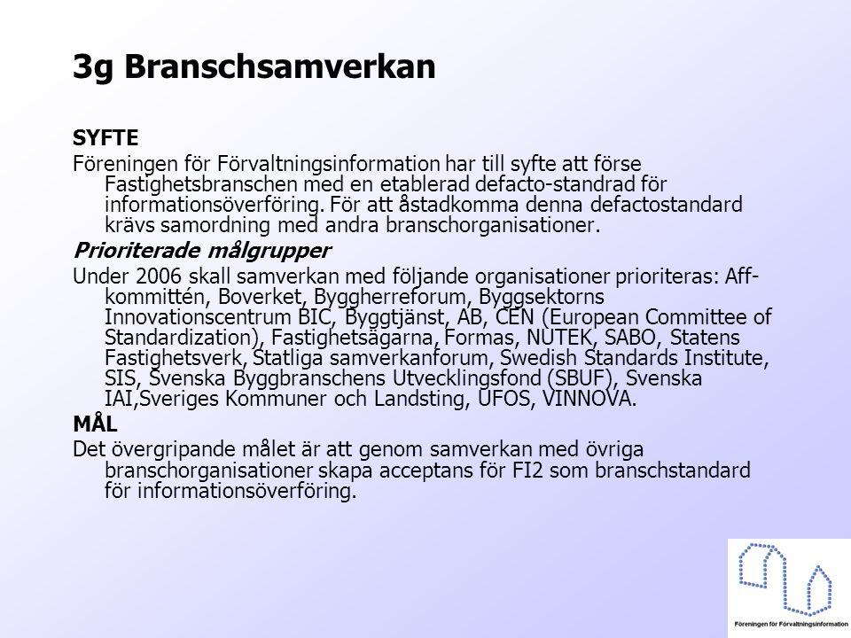 3g Branschsamverkan SYFTE Föreningen för Förvaltningsinformation har till syfte att förse Fastighetsbranschen med en etablerad defacto-standrad för in