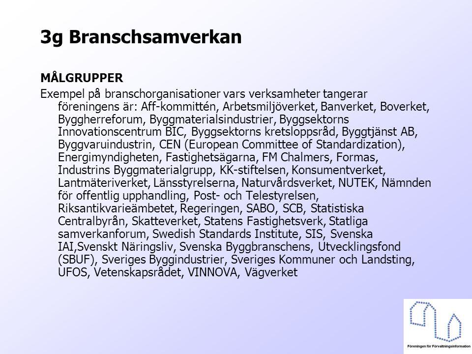 3g Branschsamverkan MÅLGRUPPER Exempel på branschorganisationer vars verksamheter tangerar föreningens är: Aff-kommittén, Arbetsmiljöverket, Banverket