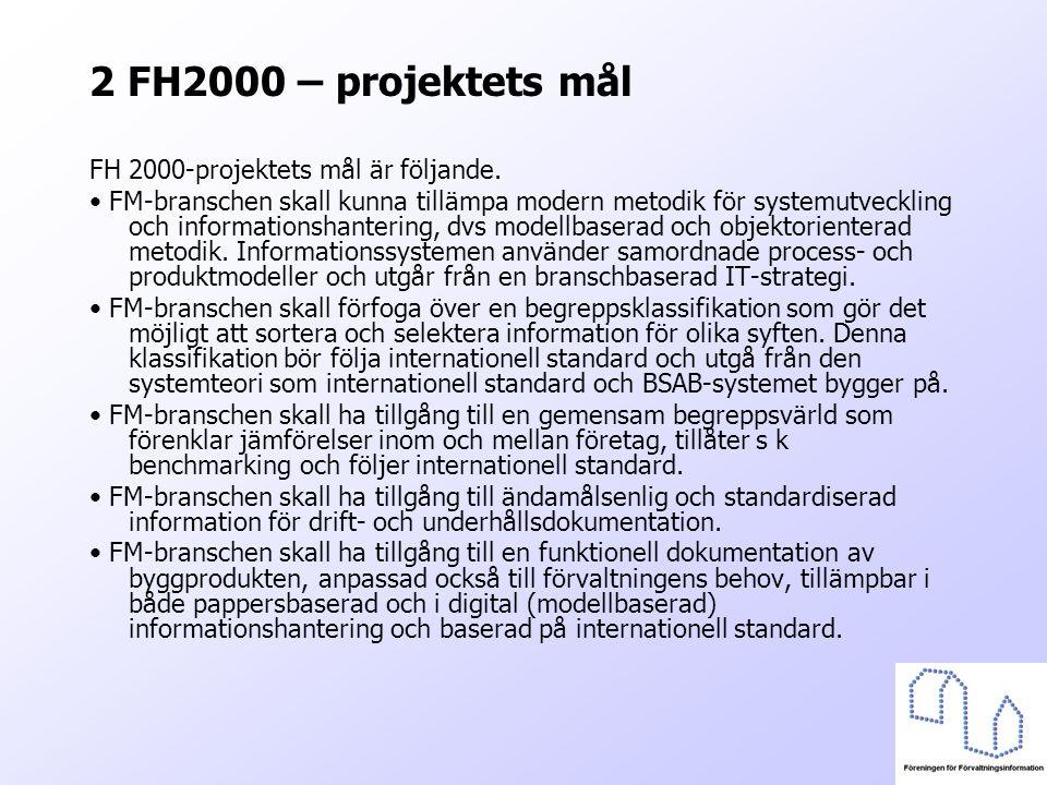 2 FH2000 – projektets mål FH 2000-projektets mål är följande. FM-branschen skall kunna tillämpa modern metodik för systemutveckling och informationsha
