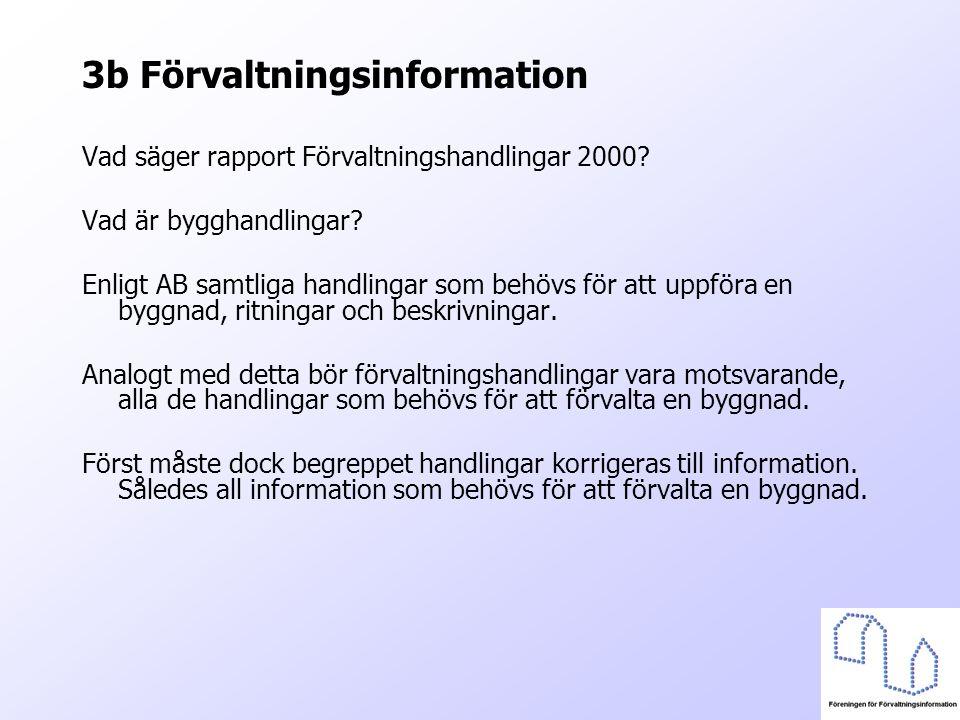 3b Förvaltningsinformation Vad säger rapport Förvaltningshandlingar 2000? Vad är bygghandlingar? Enligt AB samtliga handlingar som behövs för att uppf