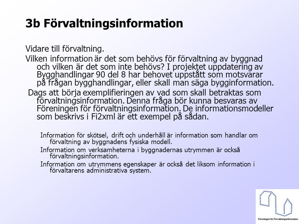 3b Förvaltningsinformation Vidare till förvaltning. Vilken information är det som behövs för förvaltning av byggnad och vilken är det som inte behövs?