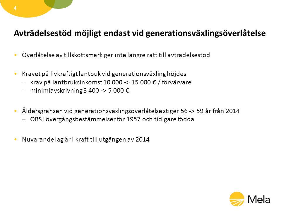 Avträdande lantbruksföretagare Allmänna förutsättningar Åldersgräns – 56 år, vid överlåtelse till nära släkting överlåtarens / makans barn, syskonbarn eller deras maka 2014 åldergräns 59 år (OBS.