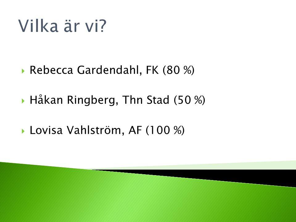 Vilka är vi?  Rebecca Gardendahl, FK (80 %)  Håkan Ringberg, Thn Stad (50 %)  Lovisa Vahlström, AF (100 %)