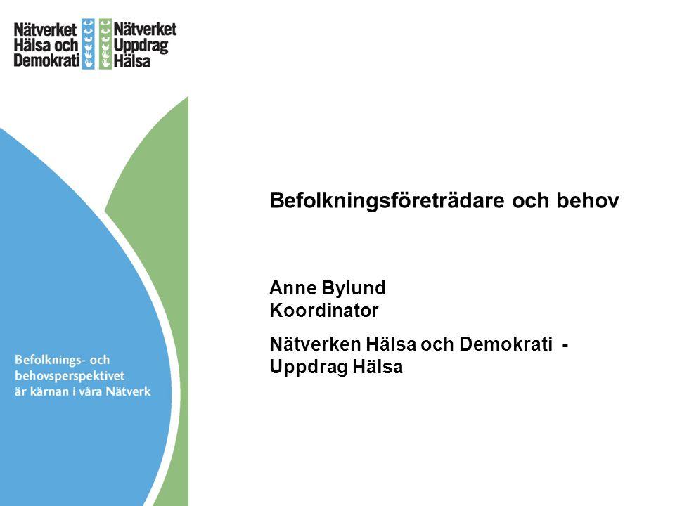 Befolkningsföreträdare och behov Anne Bylund Koordinator Nätverken Hälsa och Demokrati - Uppdrag Hälsa