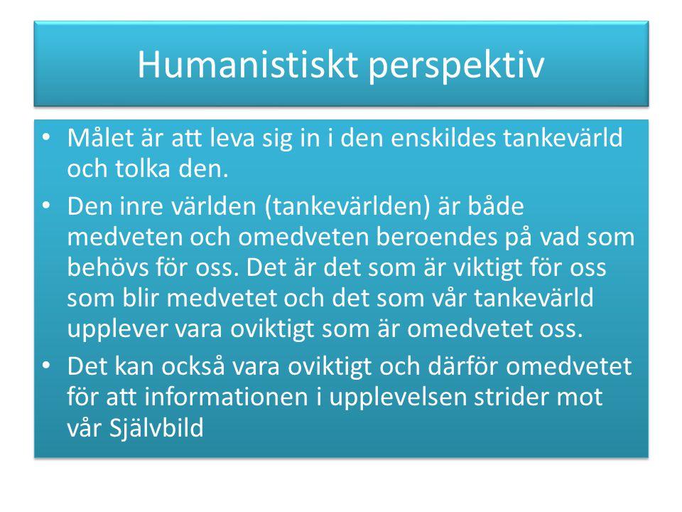 Humanistiskt perspektiv Målet är att leva sig in i den enskildes tankevärld och tolka den.