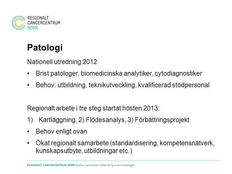 Patologi Nationell utredning 2012 Brist patologer, biomedicinska analytiker, cytodiagnostiker Behov: utbildning, teknikutveckling, kvalificerad stödpe