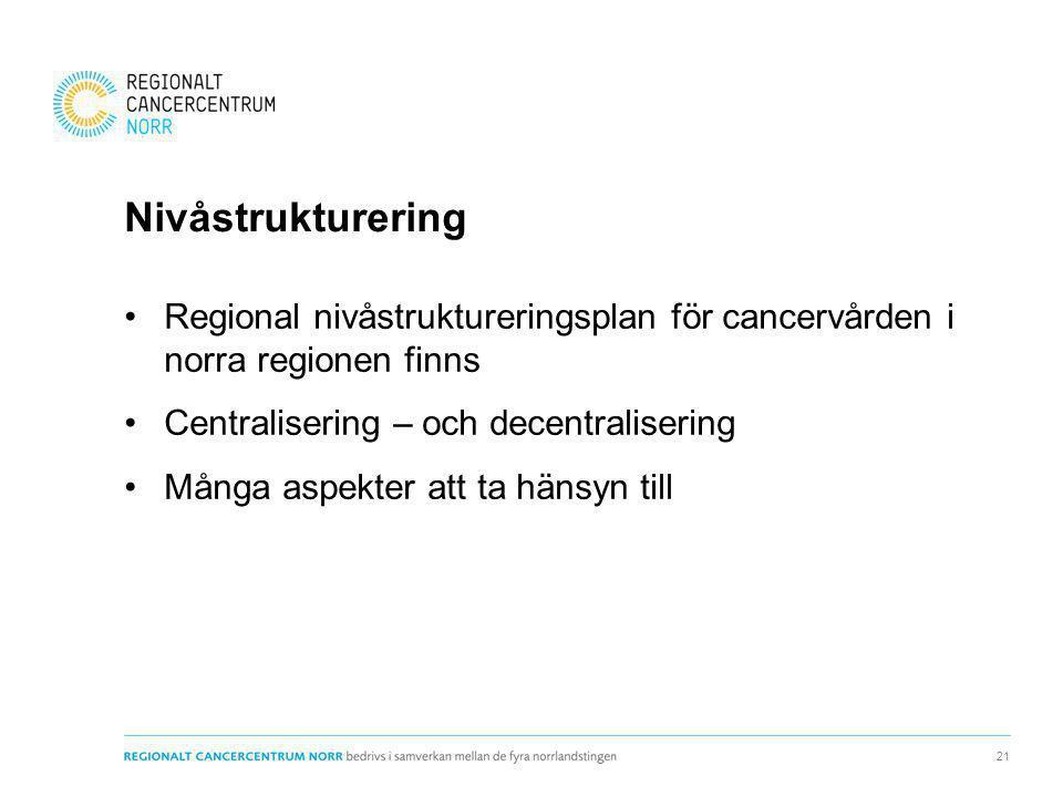 Nivåstrukturering Regional nivåstruktureringsplan för cancervården i norra regionen finns Centralisering – och decentralisering Många aspekter att ta