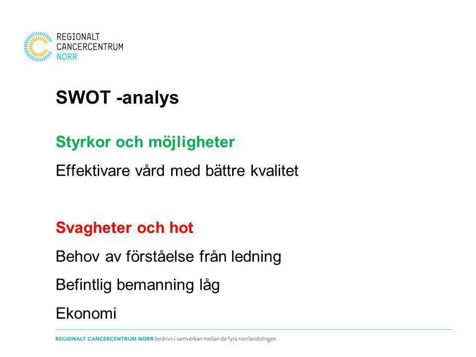 SWOT -analys Styrkor och möjligheter Effektivare vård med bättre kvalitet Svagheter och hot Behov av förståelse från ledning Befintlig bemanning låg E