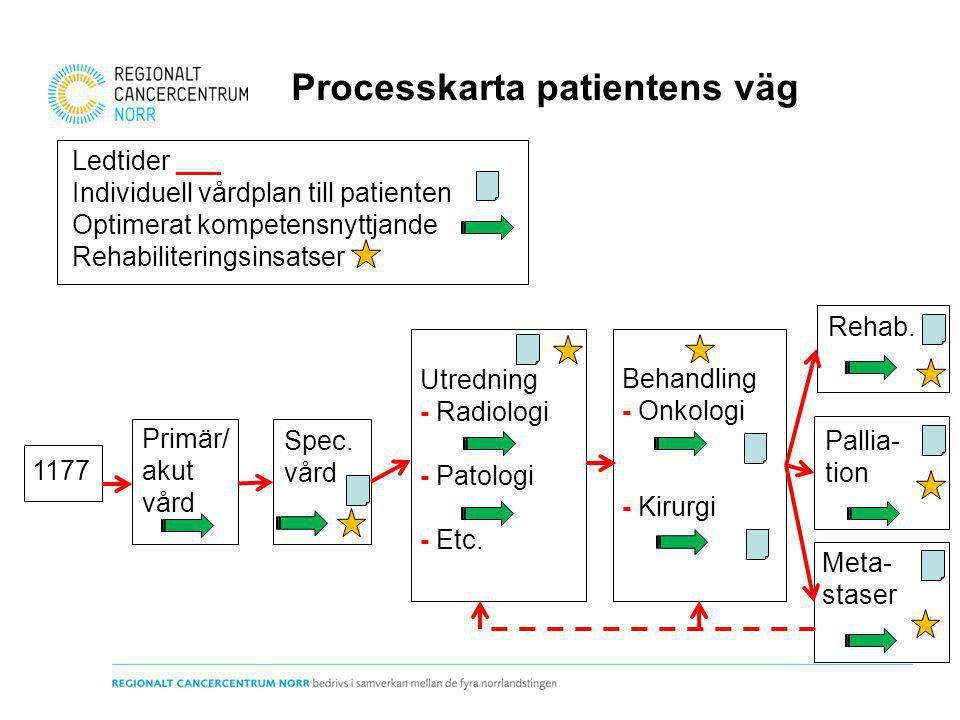1177 Primär/ akut vård Spec. vård Utredning - Radiologi - Patologi - Etc. Behandling - Onkologi - Kirurgi Rehab. Pallia- tion Meta- staser Ledtider __