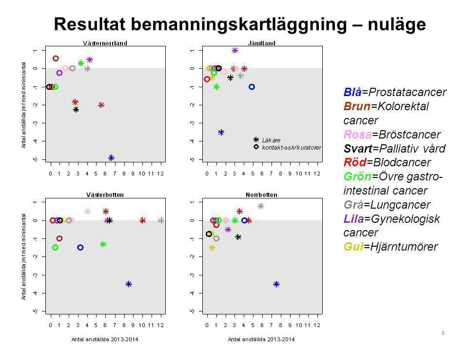 9 Resultat bemanningskartläggning – nuläge Blå=Prostatacancer Brun=Kolorektal cancer Rosa=Bröstcancer Svart=Palliativ vård Röd=Blodcancer Grön=Övre ga