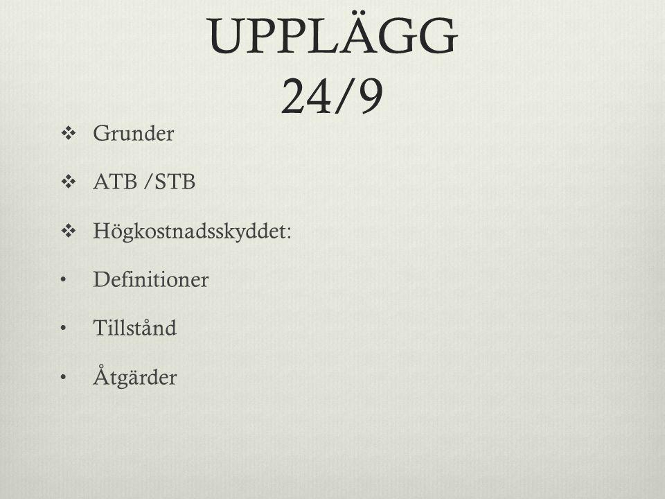 UPPLÄGG 24/9  Grunder  ATB /STB  Högkostnadsskyddet: Definitioner Tillstånd Åtgärder