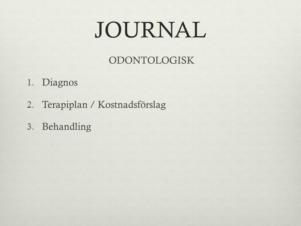 JOURNAL ODONTOLOGISK 1. Diagnos 2. Terapiplan / Kostnadsförslag 3. Behandling