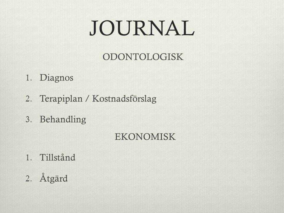 JOURNAL ODONTOLOGISK 1. Diagnos 2. Terapiplan / Kostnadsförslag 3. Behandling EKONOMISK 1. Tillstånd 2. Åtgärd