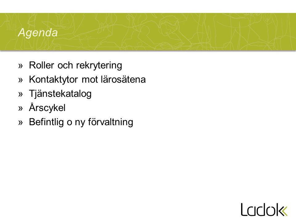 Agenda »Roller och rekrytering »Kontaktytor mot lärosätena »Tjänstekatalog »Årscykel »Befintlig o ny förvaltning