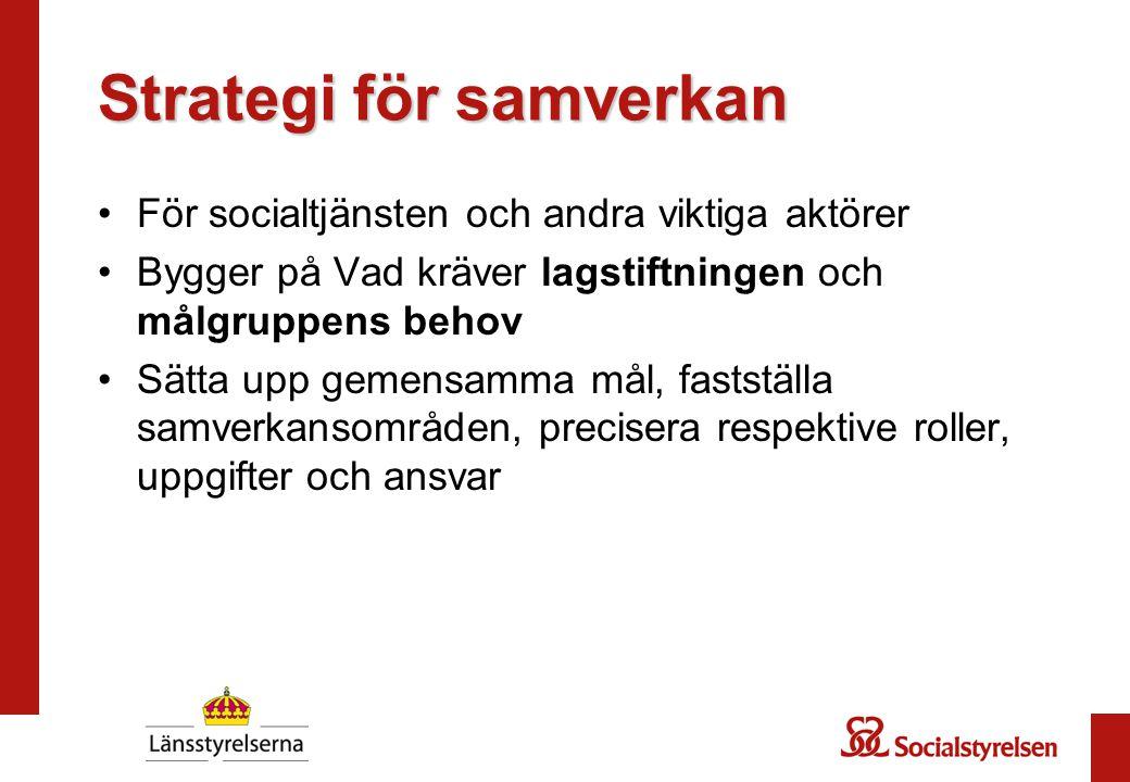 Strategi för samverkan För socialtjänsten och andra viktiga aktörer Bygger på Vad kräver lagstiftningen och målgruppens behov Sätta upp gemensamma mål