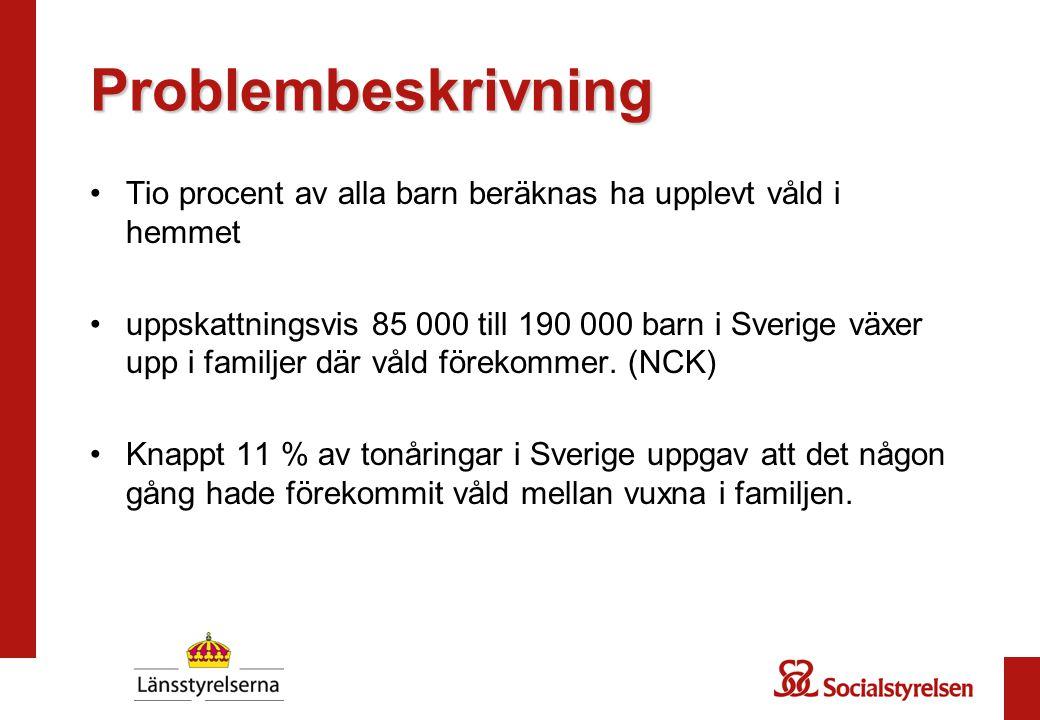 Problembeskrivning Tio procent av alla barn beräknas ha upplevt våld i hemmet uppskattningsvis 85 000 till 190 000 barn i Sverige växer upp i familjer