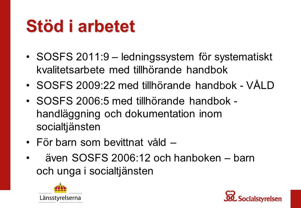 Stöd i arbetet SOSFS 2011:9 – ledningssystem för systematiskt kvalitetsarbete med tillhörande handbok SOSFS 2009:22 med tillhörande handbok - VÅLD SOS