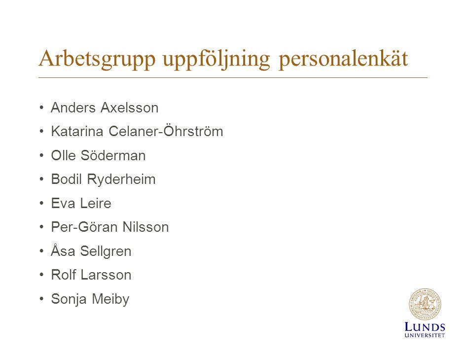 Arbetsgrupp uppföljning personalenkät Anders Axelsson Katarina Celaner-Öhrström Olle Söderman Bodil Ryderheim Eva Leire Per-Göran Nilsson Åsa Sellgren
