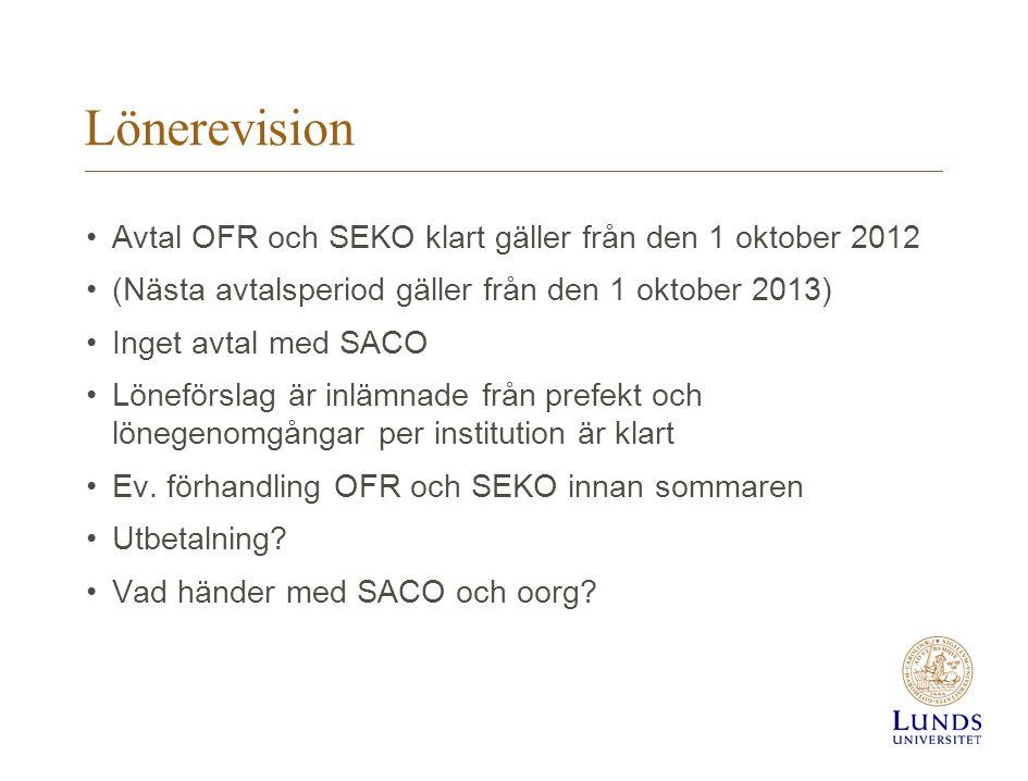 Lönerevision Avtal OFR och SEKO klart gäller från den 1 oktober 2012 (Nästa avtalsperiod gäller från den 1 oktober 2013) Inget avtal med SACO Löneförs