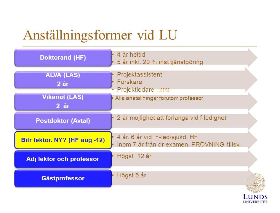 Anställningsformer vid LU 4 år heltid 5 år inkl. 20 % inst tjänstgöring Doktorand (HF) Projektassistent Forskare Projektledare, mm ALVA (LAS) 2 år All