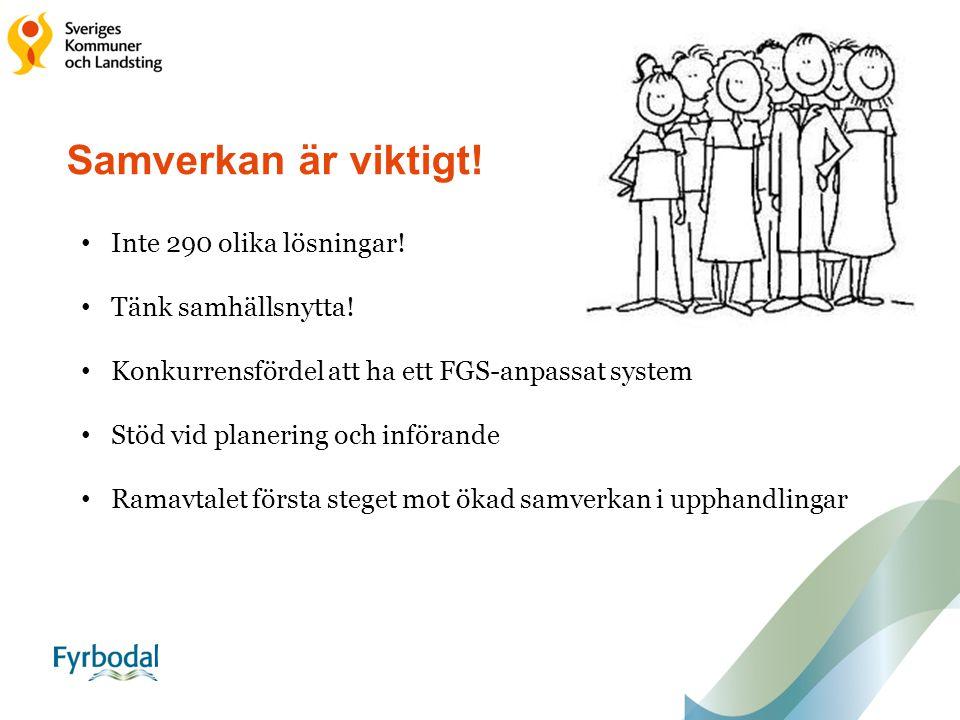 Samverkan är viktigt! Inte 290 olika lösningar! Tänk samhällsnytta! Konkurrensfördel att ha ett FGS-anpassat system Stöd vid planering och införande R