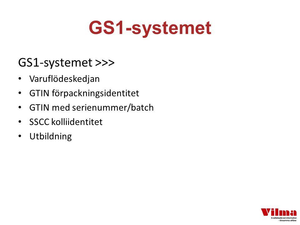 GS1-systemet GS1-systemet >>> Varuflödeskedjan GTIN förpackningsidentitet GTIN med serienummer/batch SSCC kolliidentitet Utbildning