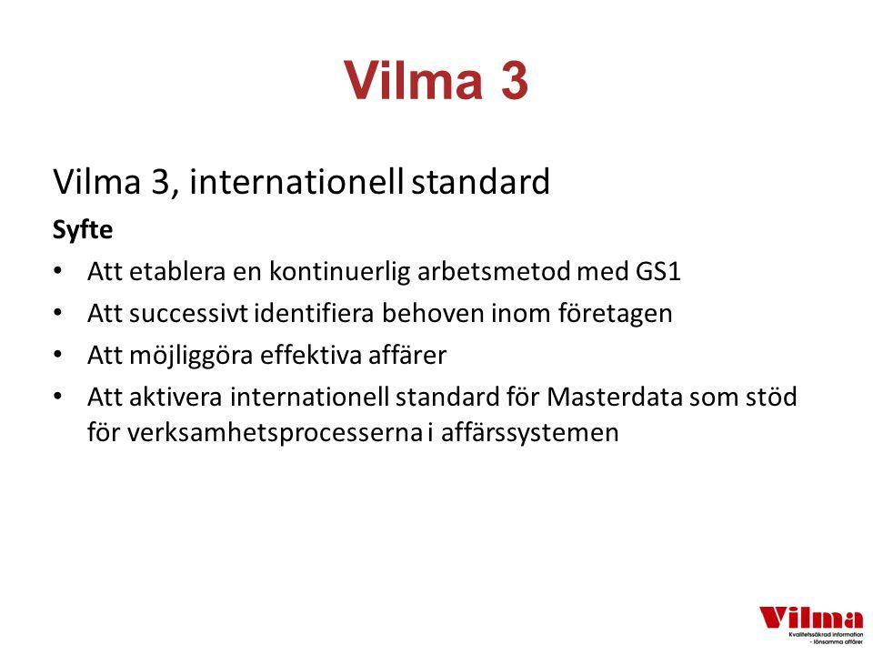 Vilma 3 Vilma 3, internationell standard Syfte Att etablera en kontinuerlig arbetsmetod med GS1 Att successivt identifiera behoven inom företagen Att möjliggöra effektiva affärer Att aktivera internationell standard för Masterdata som stöd för verksamhetsprocesserna i affärssystemen