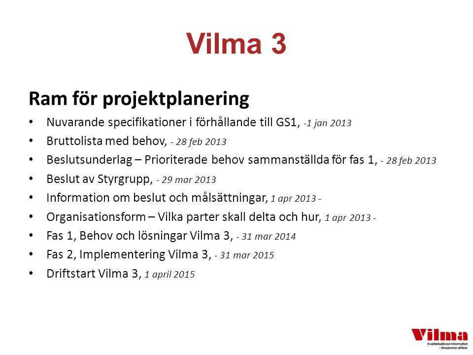 Vilma 3 Ram för projektplanering Nuvarande specifikationer i förhållande till GS1, -1 jan 2013 Bruttolista med behov, - 28 feb 2013 Beslutsunderlag – Prioriterade behov sammanställda för fas 1, - 28 feb 2013 Beslut av Styrgrupp, - 29 mar 2013 Information om beslut och målsättningar, 1 apr 2013 - Organisationsform – Vilka parter skall delta och hur, 1 apr 2013 - Fas 1, Behov och lösningar Vilma 3, - 31 mar 2014 Fas 2, Implementering Vilma 3, - 31 mar 2015 Driftstart Vilma 3, 1 april 2015