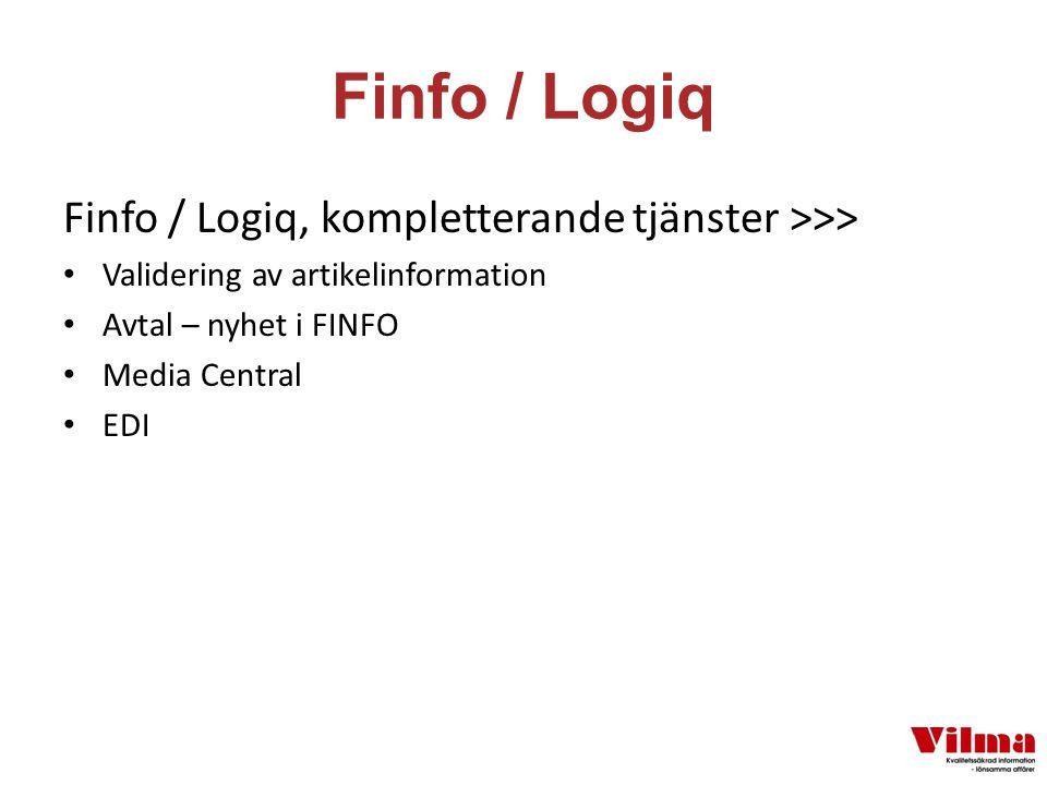 Finfo / Logiq Finfo / Logiq, kompletterande tjänster >>> Validering av artikelinformation Avtal – nyhet i FINFO Media Central EDI
