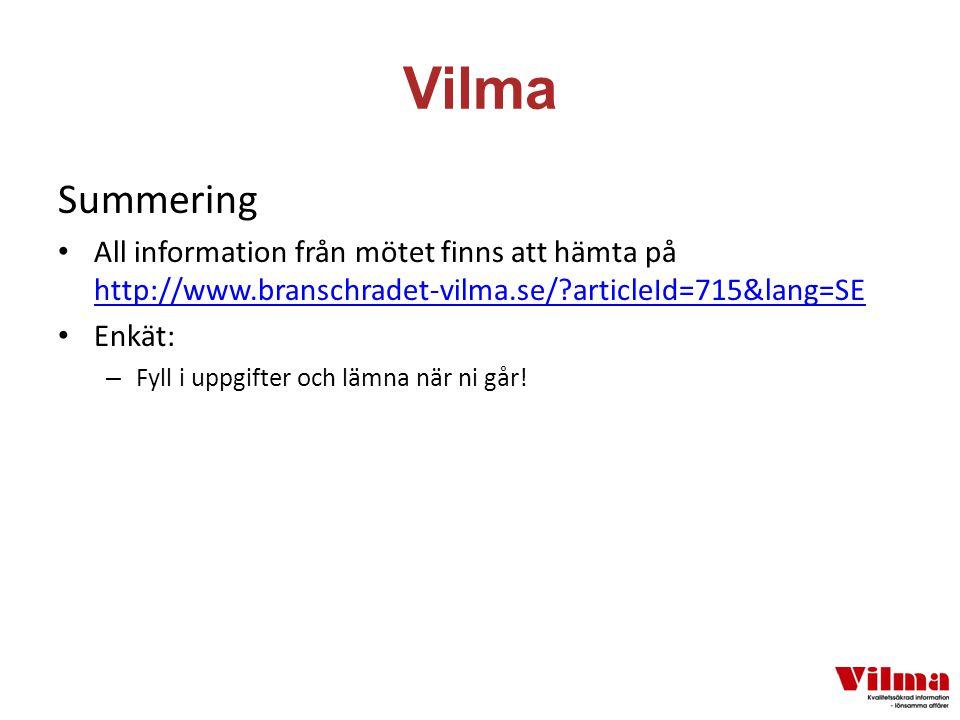 Vilma Summering All information från mötet finns att hämta på http://www.branschradet-vilma.se/ articleId=715&lang=SE http://www.branschradet-vilma.se/ articleId=715&lang=SE Enkät: – Fyll i uppgifter och lämna när ni går!