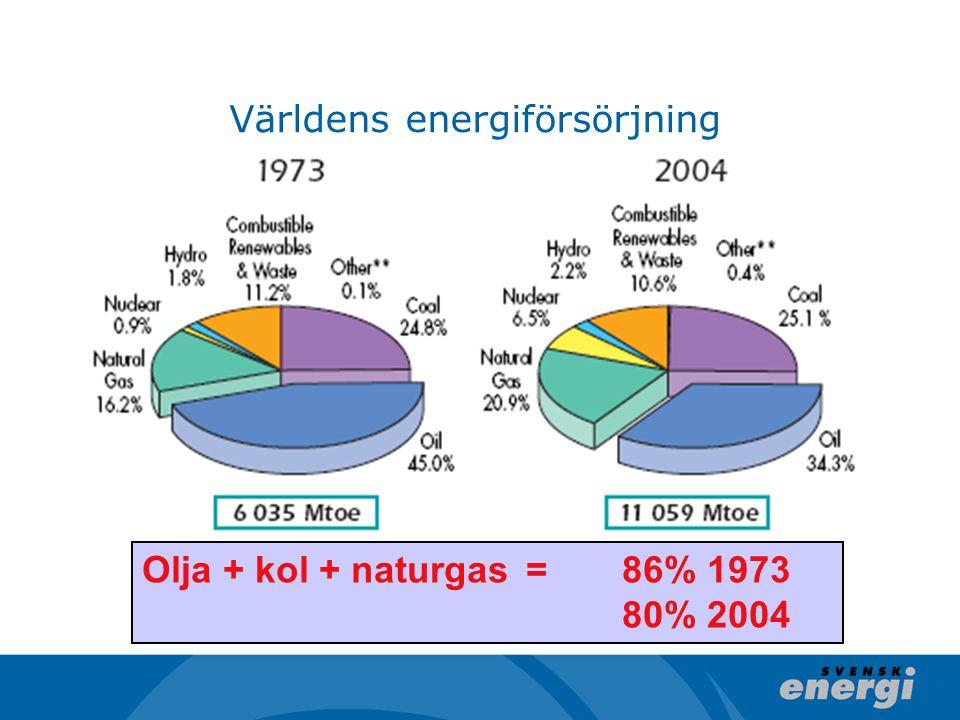 Världens energiförsörjning Olja + kol + naturgas = 86% 1973 80% 2004