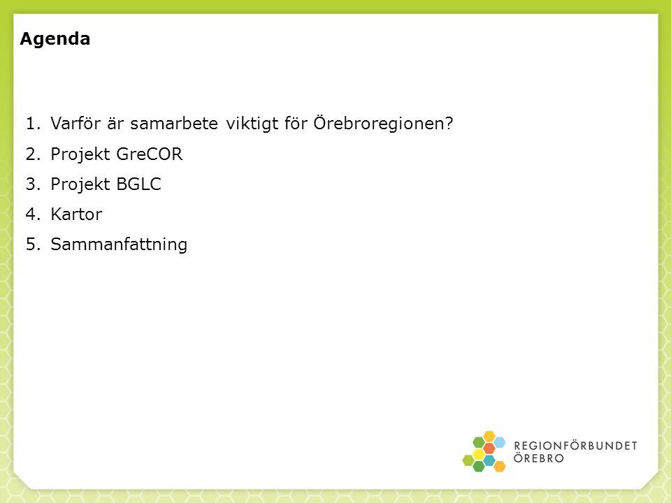 Agenda 1.Varför är samarbete viktigt för Örebroregionen? 2.Projekt GreCOR 3.Projekt BGLC 4.Kartor 5.Sammanfattning