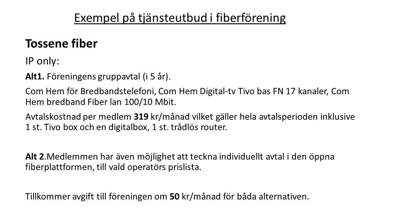 Tossene fiber IP only: Alt1. Föreningens gruppavtal (i 5 år). Com Hem för Bredbandstelefoni, Com Hem Digital-tv Tivo bas FN 17 kanaler, Com Hem bredba