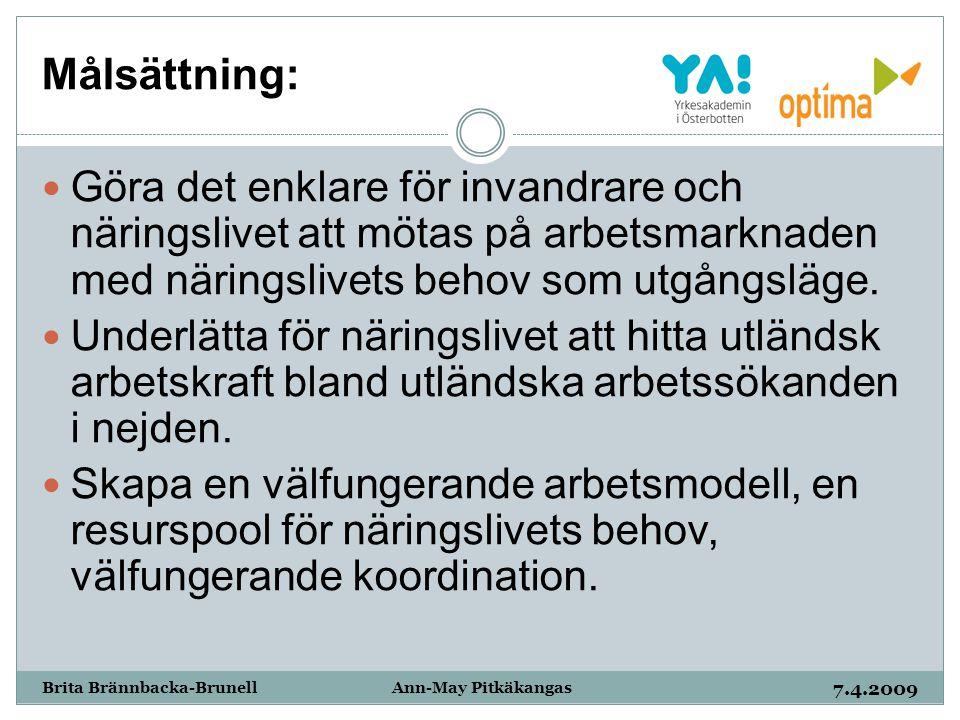 Målsättning: 7.4.2009 Brita Brännbacka-Brunell Ann-May Pitkäkangas Göra det enklare för invandrare och näringslivet att mötas på arbetsmarknaden med n